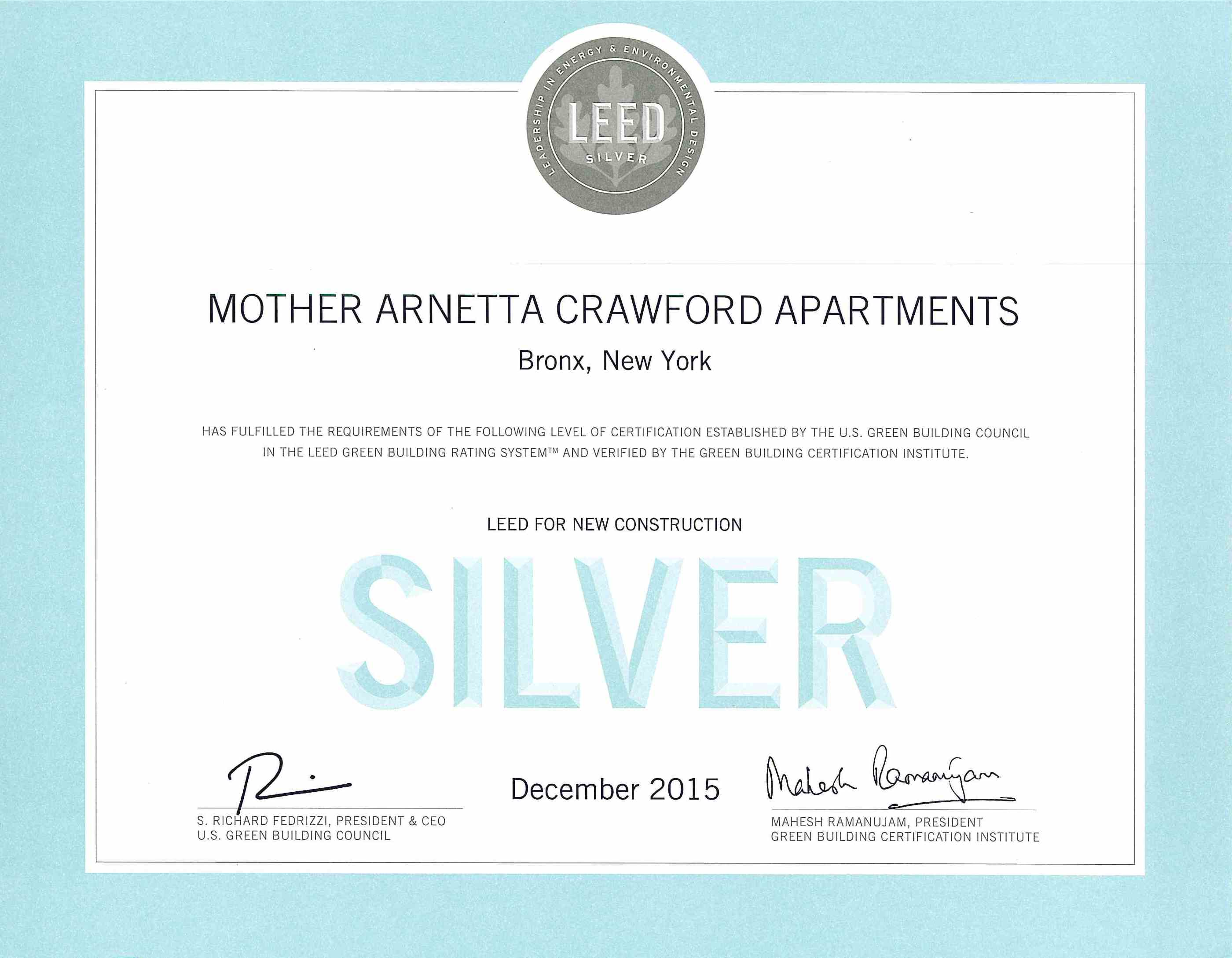 Mother Arnetta Crwaford Apartments Leed For New Construction Silver